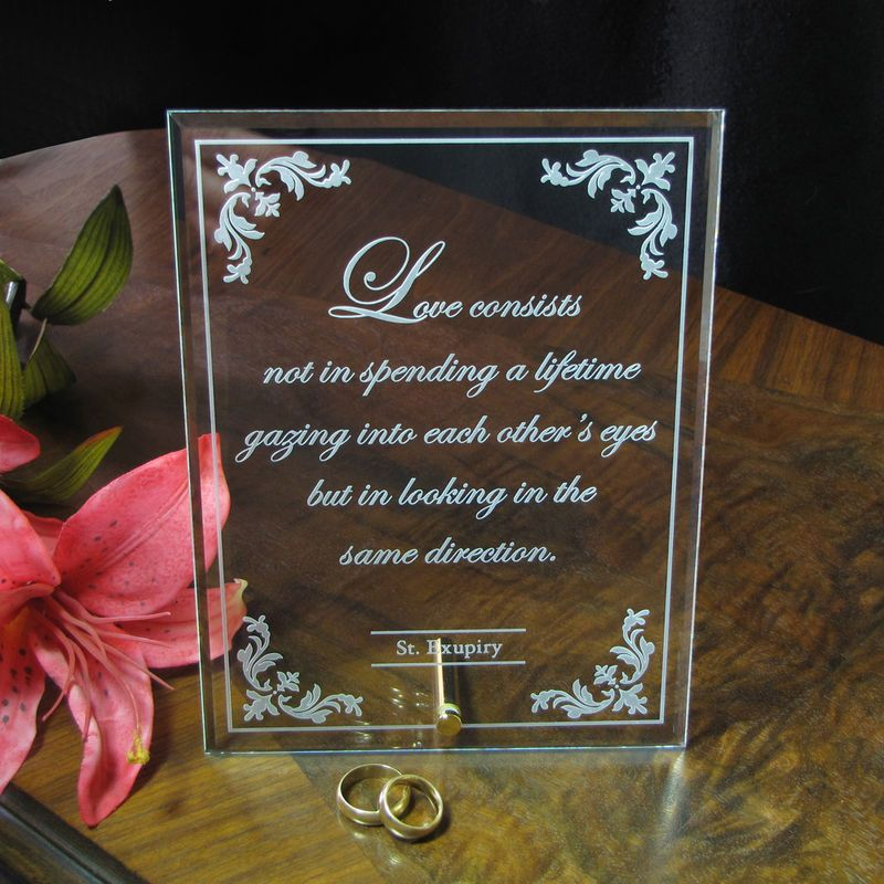 Engraved Glass Marriage Plaque Personalized Custom Bespoke Wedding Quote Gift For Couple