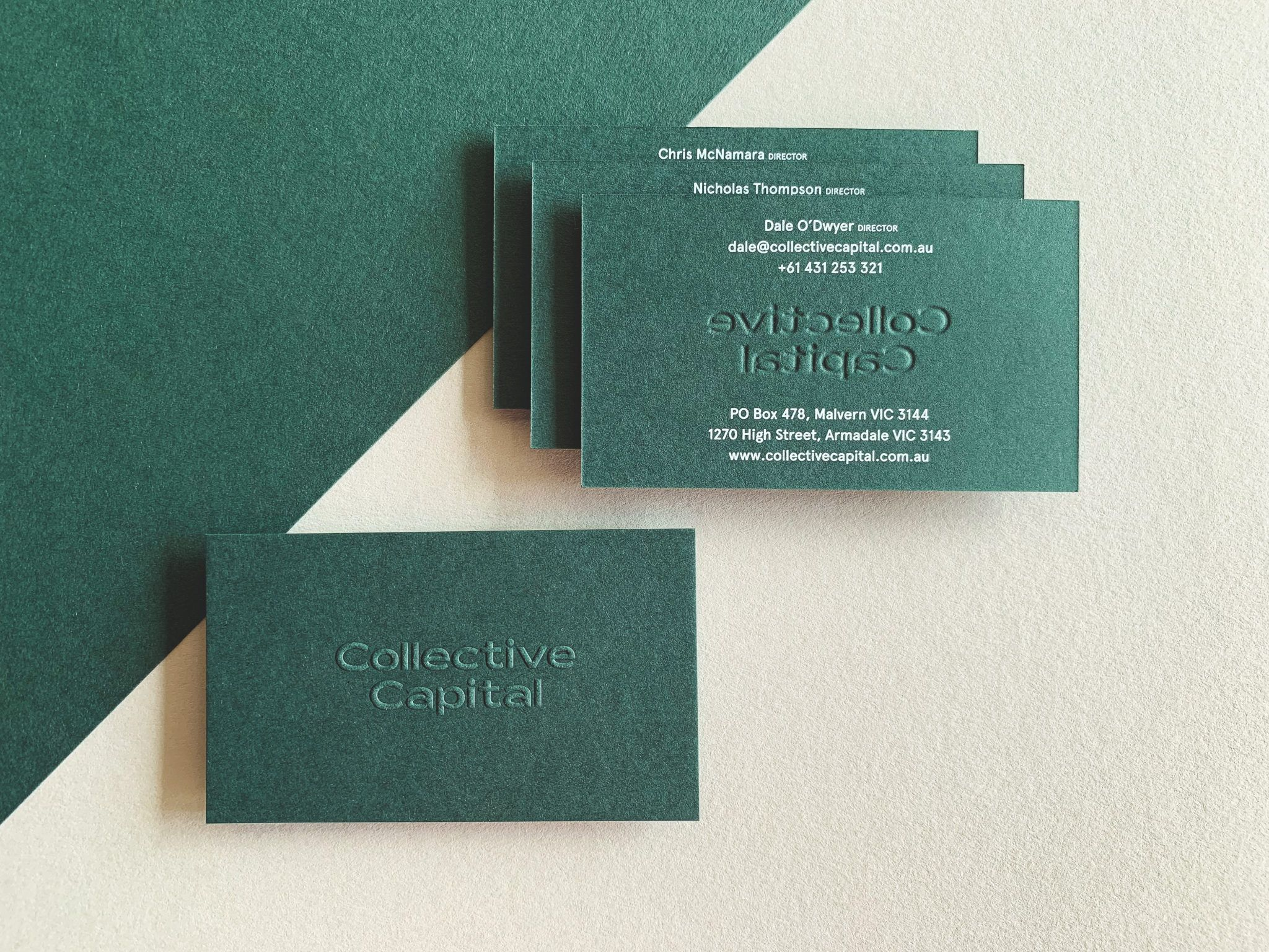 Embossed Opaque White Digital Business Cards For Collective Capital On Colorplan 2 Letterpress Business Cards Embossed Business Cards Digital Business Card