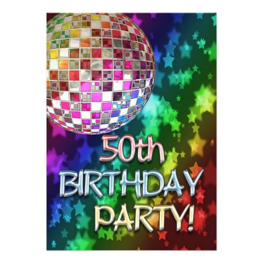 50th party with disco ball and rainbow of stars personalized - best of birthday invitation card online maker