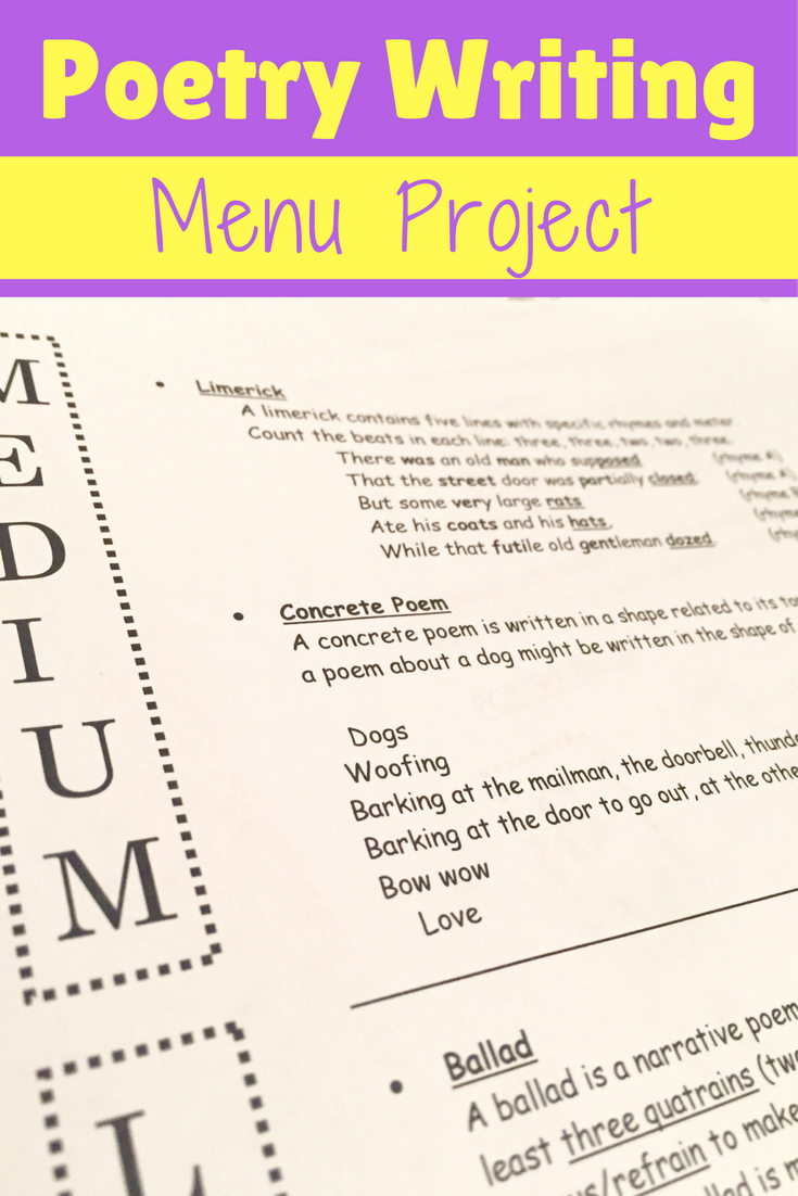 Get Your Students Writing Their Own Poetry With This Creative Writing Poetry Menu Project Writing Prompts For Writers Teaching Poetry Writing Prompts For Kids