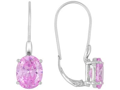 Bella Luce (R) Pink Diamond Simulant 9.70ct Rhodium Plated Sterling Silver Earrings