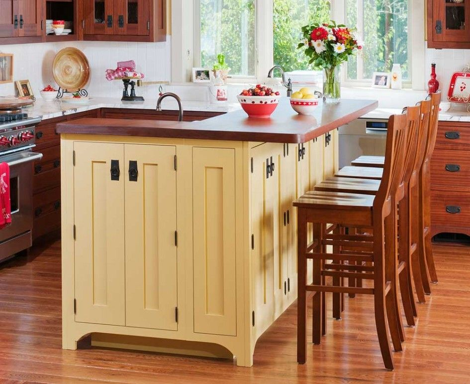 Attrayant Tremendous Cherry Wood Kitchen Island Table Beside Wooden High Back Bar  Stools Also Square Tall Glass Vases For Small Sunflower Arrangements Above  2 Tier ...