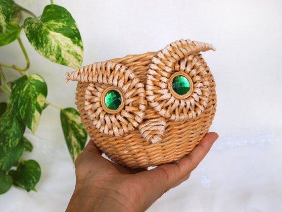 Owl Storage Basket Toy storage Wicker basket Small basket Baby