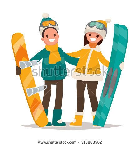Winter sports. Couple man and woman with a snowboard and skis. Vector illustration in a flat style