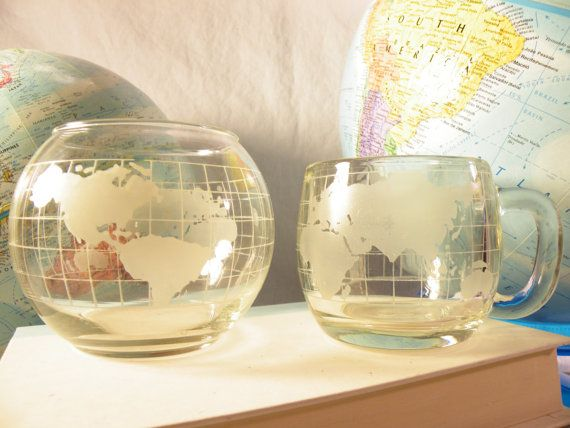 Vintage Map Globe World Mug and Sugar Bowl - Traveler Gift Birthday