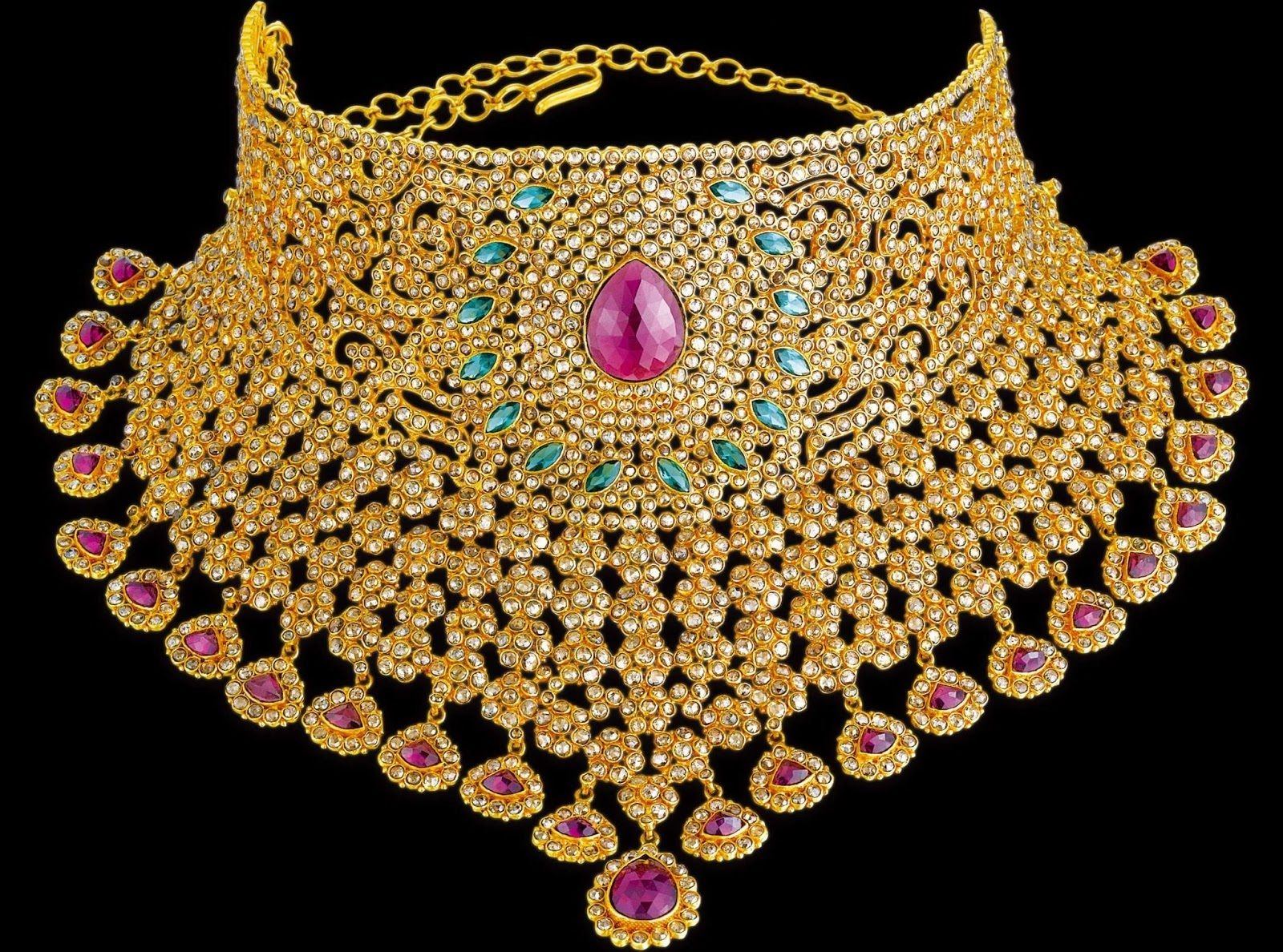 Pai jewellers gold necklace designs latest indian jewellery designs - Latest Indian Gold And Diamond Jewellery Designs Heavy Bridal Uncut Diamond Choker Necklace