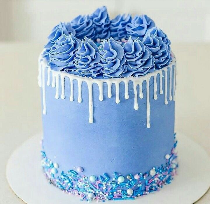 Bolo Drip Cake Azul Com Imagens Bolo Drip Cake Bolos