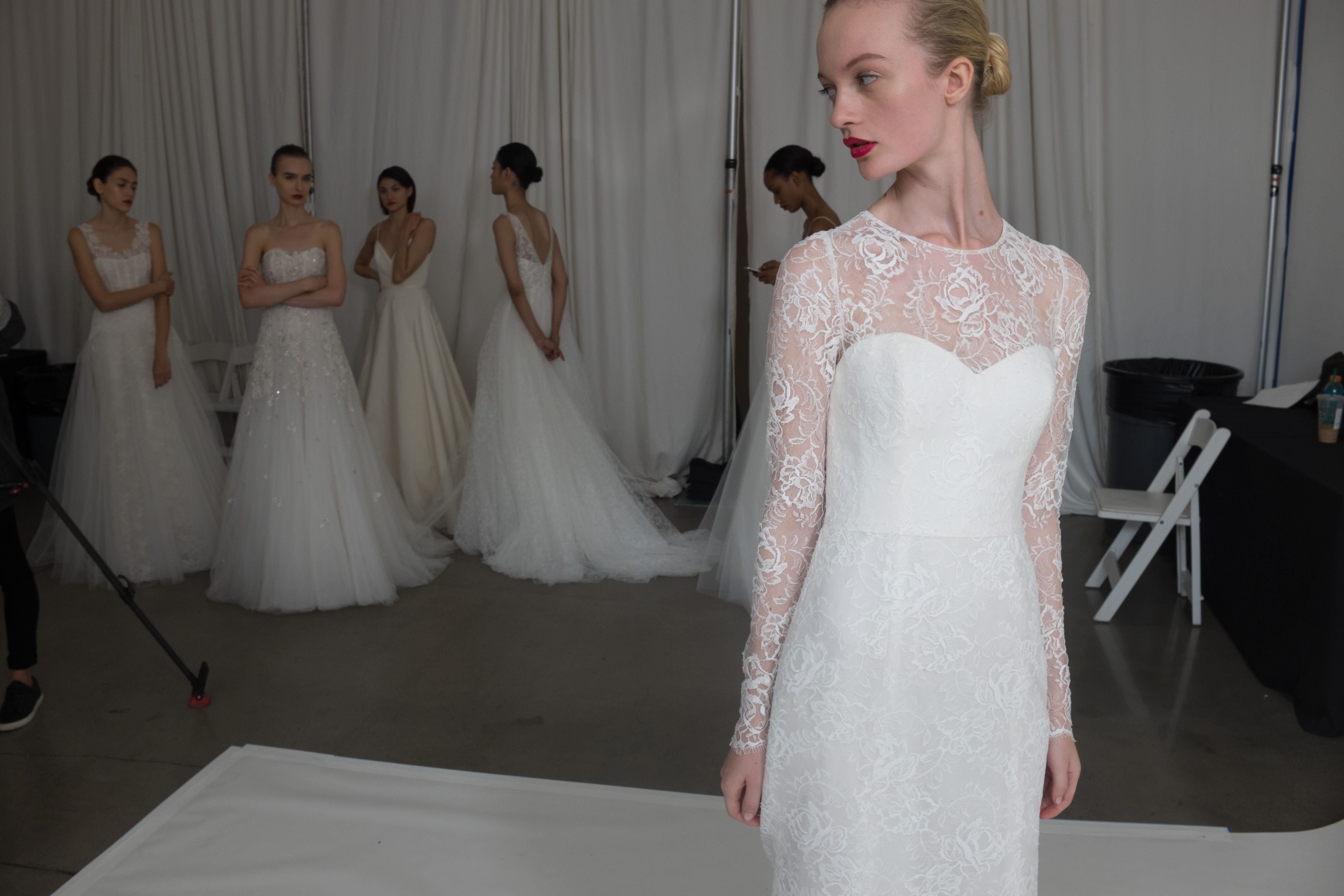 """Wedding Dresses from the Fall 2016 Amsale runway show. Featured gown: """"Tegan"""""""