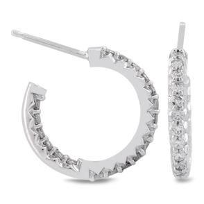 #Malakan #Jewelry - Platinum-Silver Diamond Hoop Earrings 83378A #Earrings #Hoops #Fashion