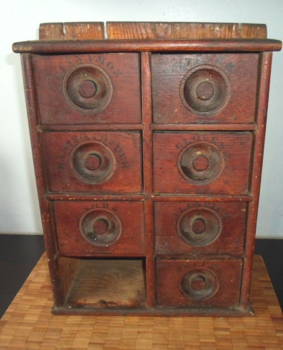 apothecary style furniture. Antique Primitive Wood Spice Cabinet With Old Style Print On Drawers Apothecary Furniture