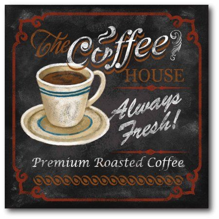 Coffee Cafe Ii Gallery Wrapped Canvas Wall Art 16x16 Walmart Com Coffee Wall Art Coffee House Framed Canvas Wall Art