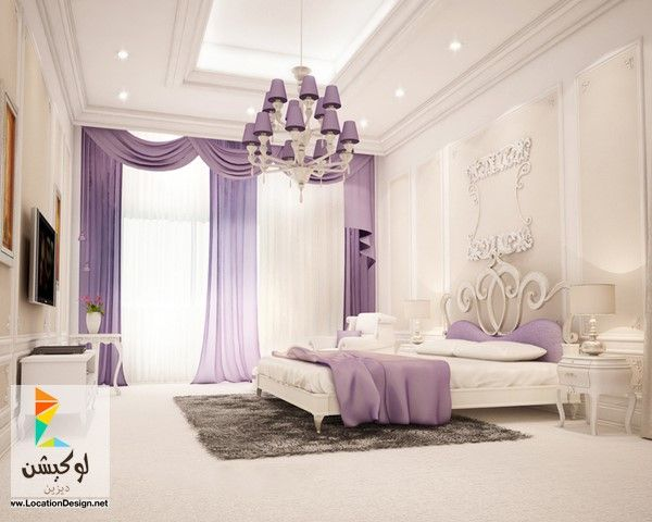 ديكورات غرف نوم باللون البنفسجي لوكيشن ديزين نت ديكور تصميم اثاث Classic Bedroom Design Luxurious Bedrooms Bedroom Design