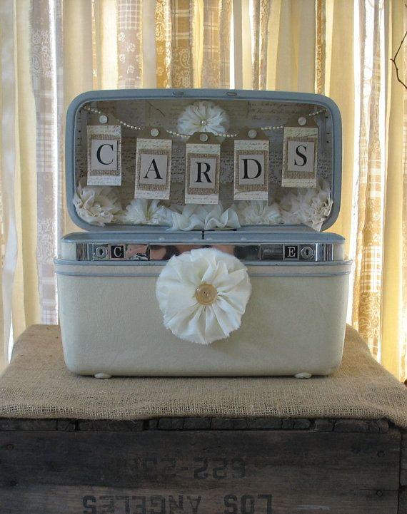 Vintage Suitcase Wedding Card Box Wedding Card Holder Wedding Decoration Ivory Off White Creme #vintagesuitcasewedding