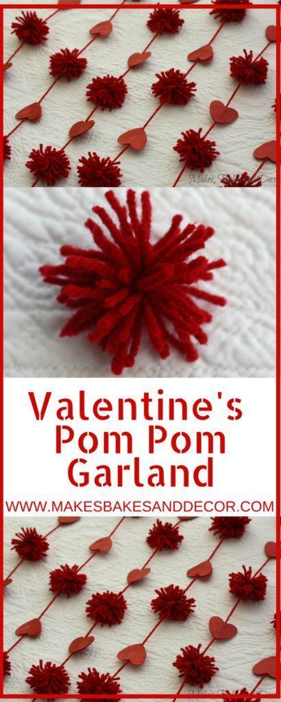 V-day pom pom garland, #Garland #Pom #vday