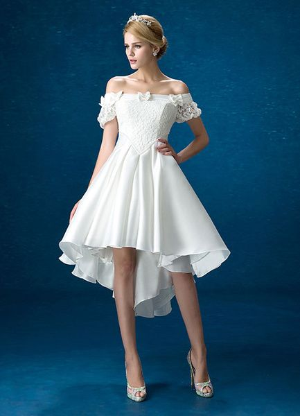 1243e992587 White Wedding Dress Lace Satin Off The Shoulder Bridal Gown High Low  Beading Bows Short Sleeve Bridal Dress