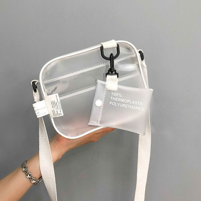 Casual PVC Transparent Clear Women Crossbody Bags Shoulder Bag Handbag Jelly Small Phone Bags With Card Holder Wide Straps Flap Color Transparent