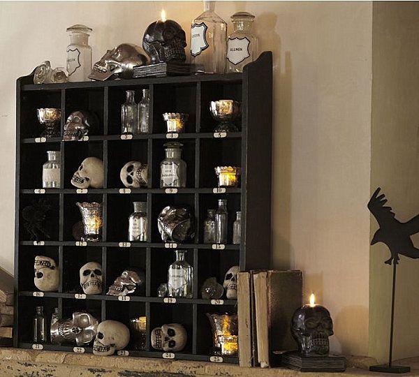spooky halloween decorating ideas vintage style halloween decor shelf skulls old books apothecary jars - Vintage Style Halloween Decorations