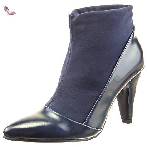 8499edb69062 Sopily - Chaussure Mode Bottine Souple Montante femmes Brillant Talon haut  bloc 9 CM - Bleu