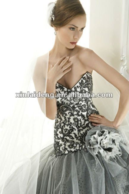 Yw 12061453 White And Black Lace Corset Wedding Dress