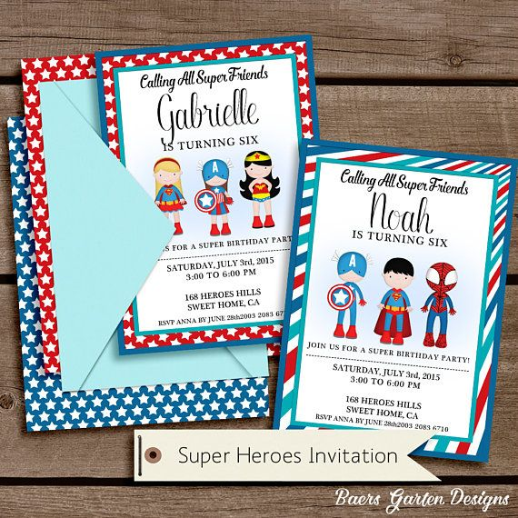 Super Heroes Printable Birthday Party Invitation Superheroes - invitation letter for home party