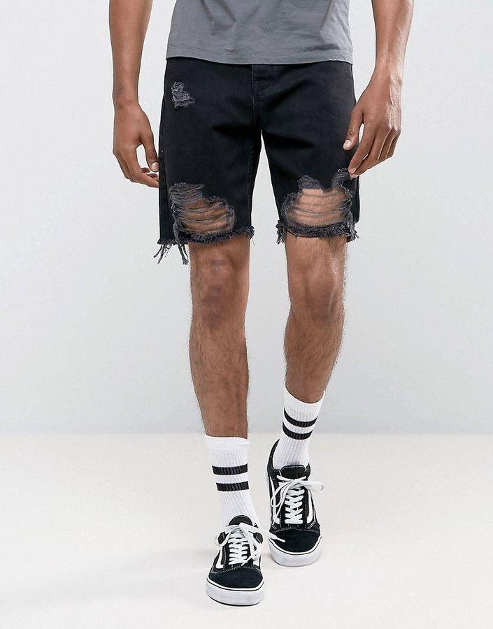 befc29f1a495f ASOS Denim Shorts In Slim Black With Heavy Rips