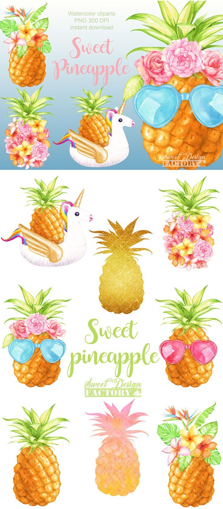 Watercolor summer pineapple clipart | Flower clipart, Clip ...