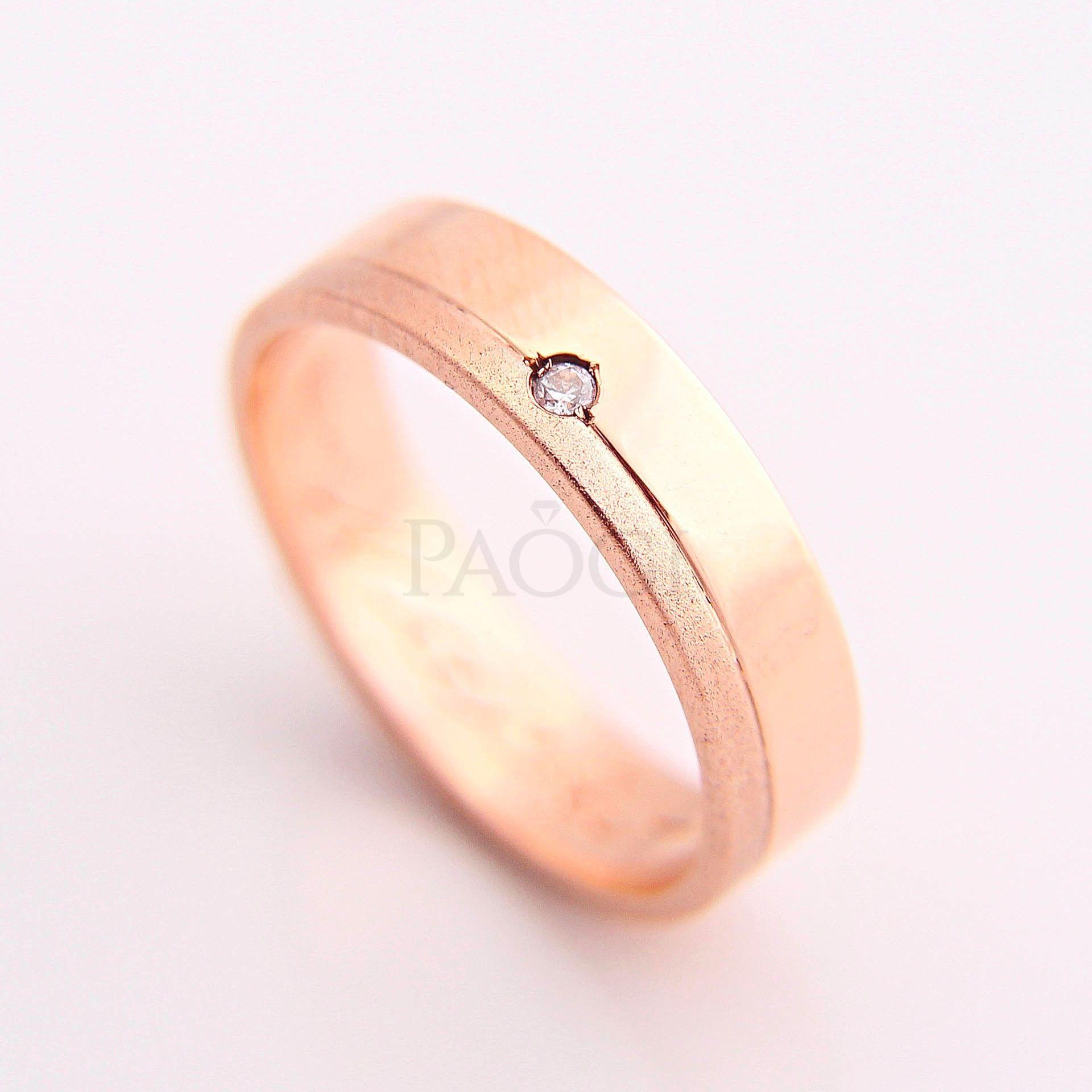 Paogi - Alianzas en oro rojo Cintas con lateral Arenado y Diamante Brillante