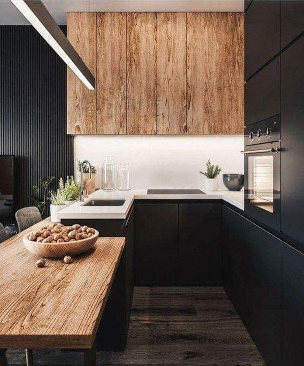 32 Meilleures Idees De Design De Cuisine En Bois Noir Et Blanc