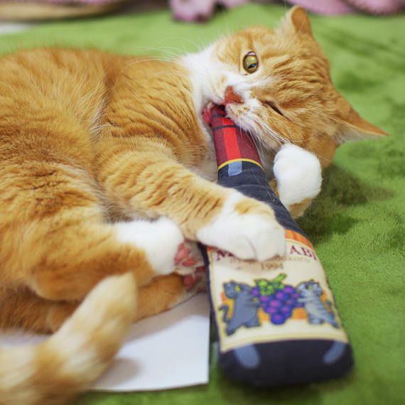 Wine Cat Toys, Cute Cat Toys, Unique Cat Toys, Cat Gifts, Cat ...
