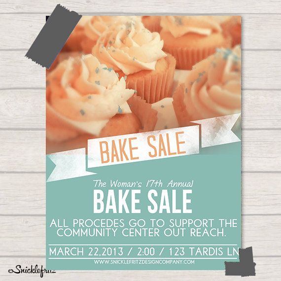 Bake Sale Flyer Personalized Printable By Snicklefritzdesignco