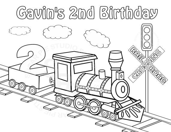 Personalized Printable Transportation Choo Choo Train Favor Etsy Birthday Coloring Pages Train Coloring Pages Coloring Pages For Kids