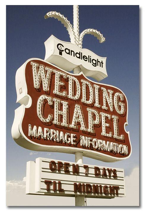 Retro Neon Wedding Chapel Sign In Las Vegas Nevada Neon