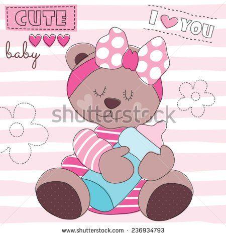 cute teddy bear baby with feeding bottle vector illustration