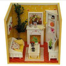 Popular Kostenloser Versand Puppen Haus DIY H lzernes Puppenhaus D Molel Wohnzimmer Miniatur Mit M bel China
