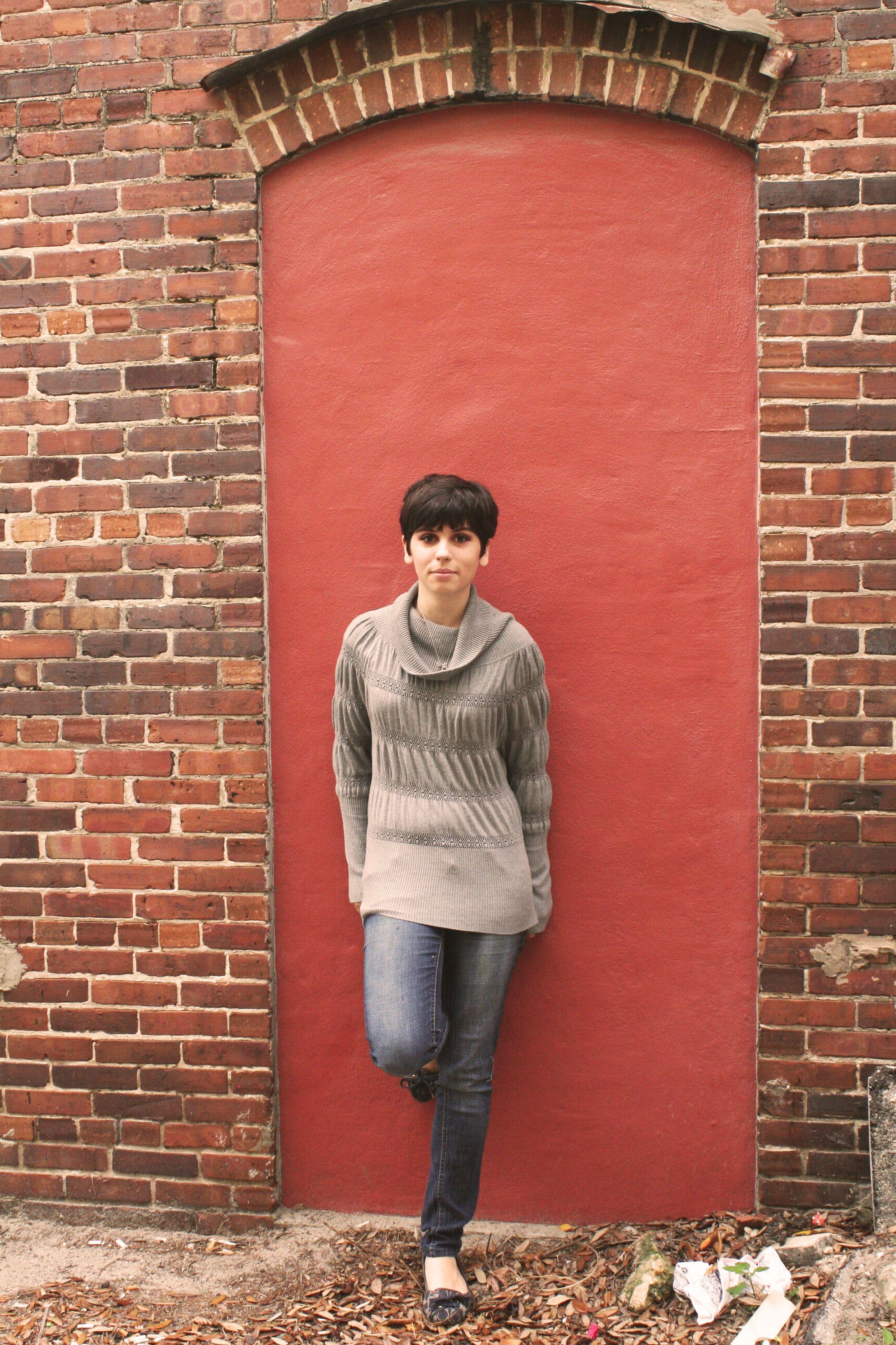 Kristen, the door.