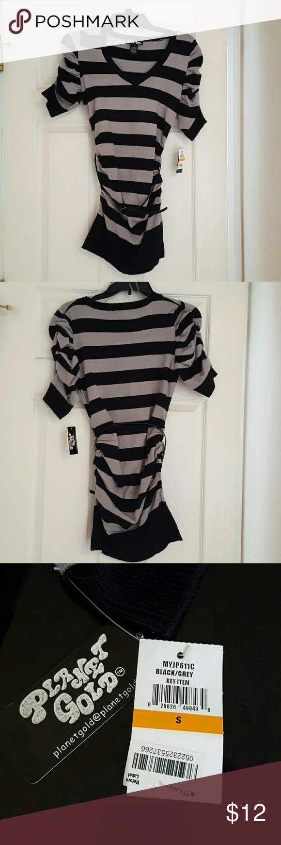 Brand new planet gold sweater NWT | Tunic sweater, Grey stripes ...