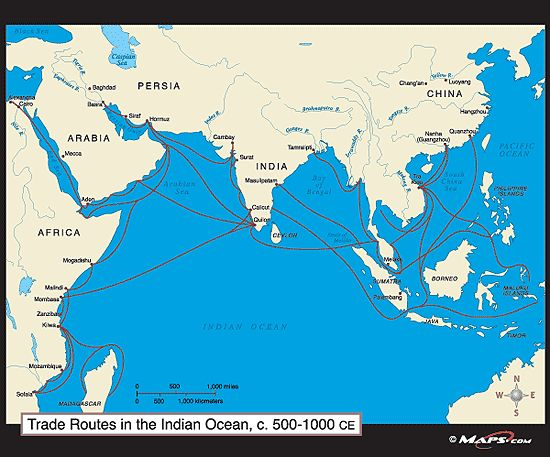Map of Indian Ocean trade routes with cities Tierney Manning