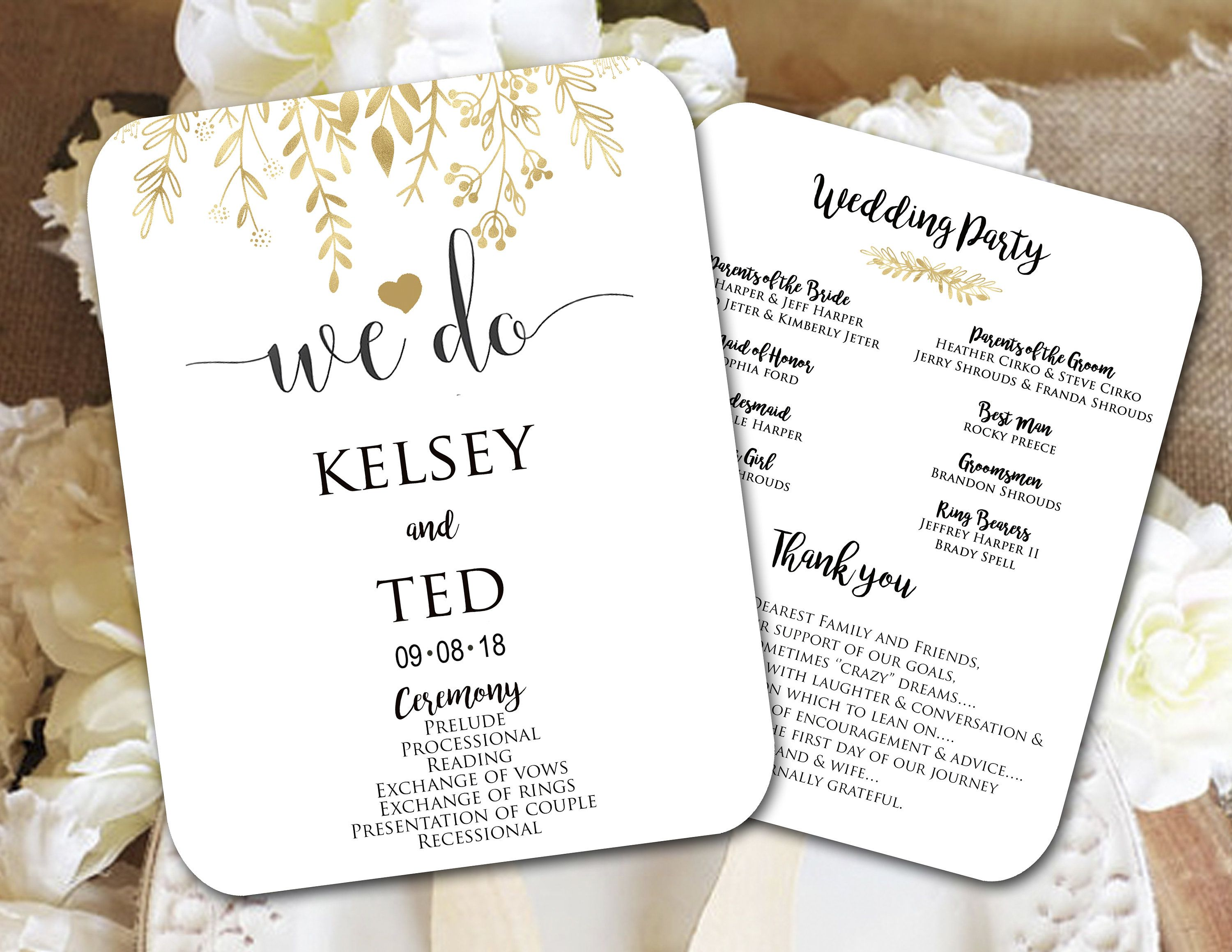 Custom Gold and White Wedding Fans, Wedding Fan Program, Wedding ...