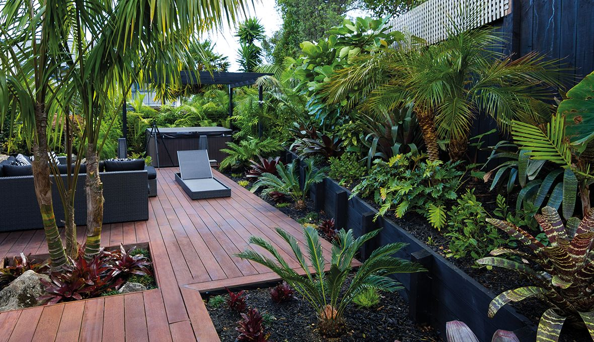 Zones landscaping zen resort style garden decking for Low maintenance garden ideas nz