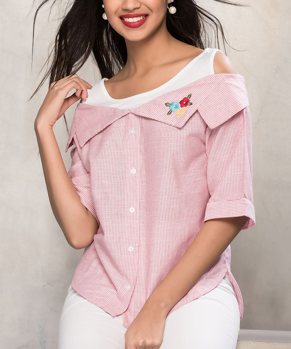 Pink Stripe Button-Up Top