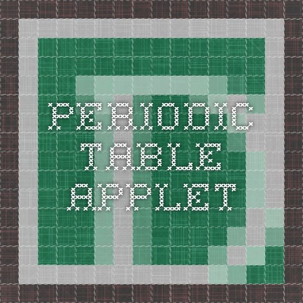 periodic table applet - Periodic Table Applet