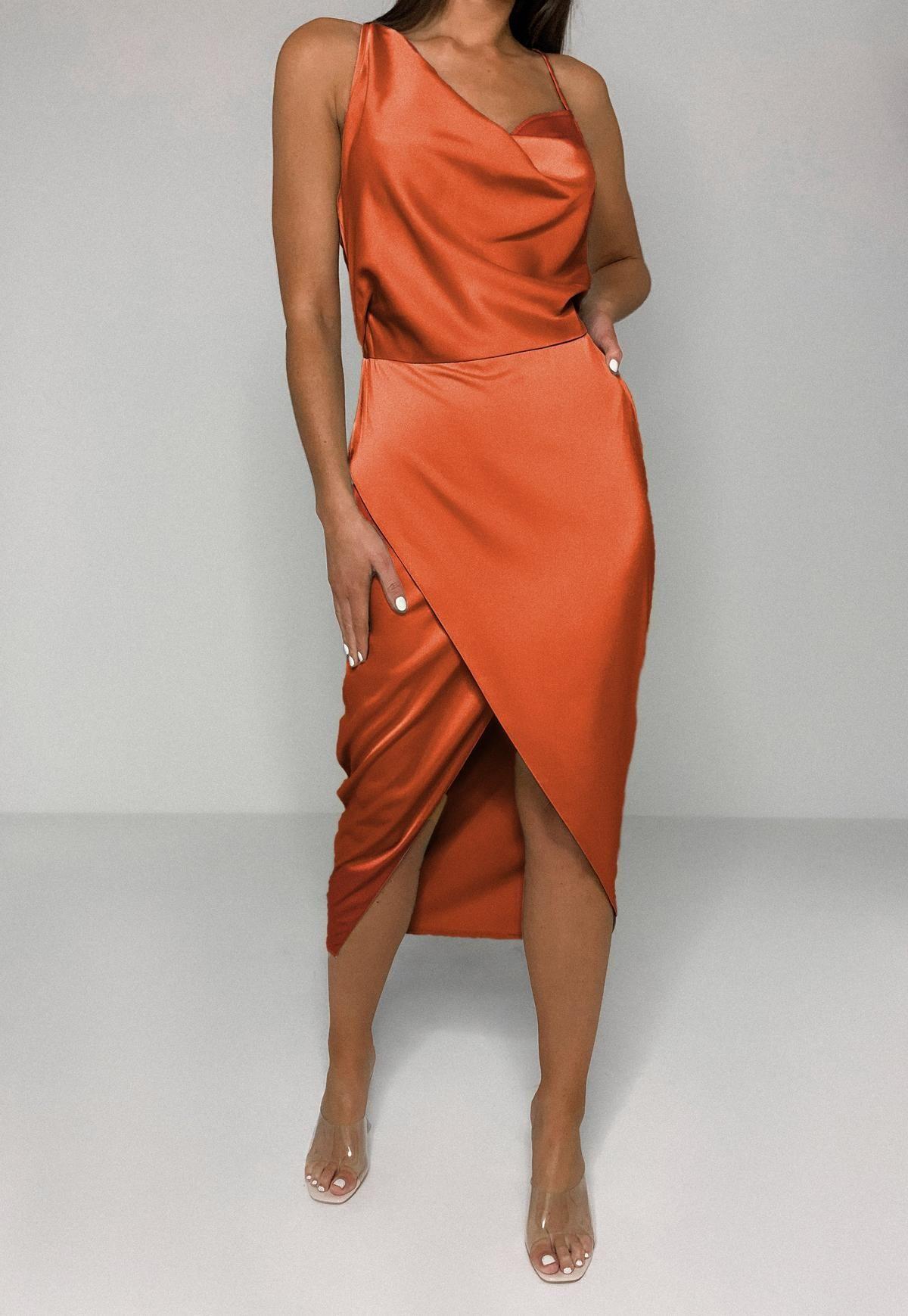 Missguided Cream Satin Asymmetric Drape Midi Dress Draped Midi Dresses Rust Dress Dresses To Wear To A Wedding [ 1739 x 1200 Pixel ]