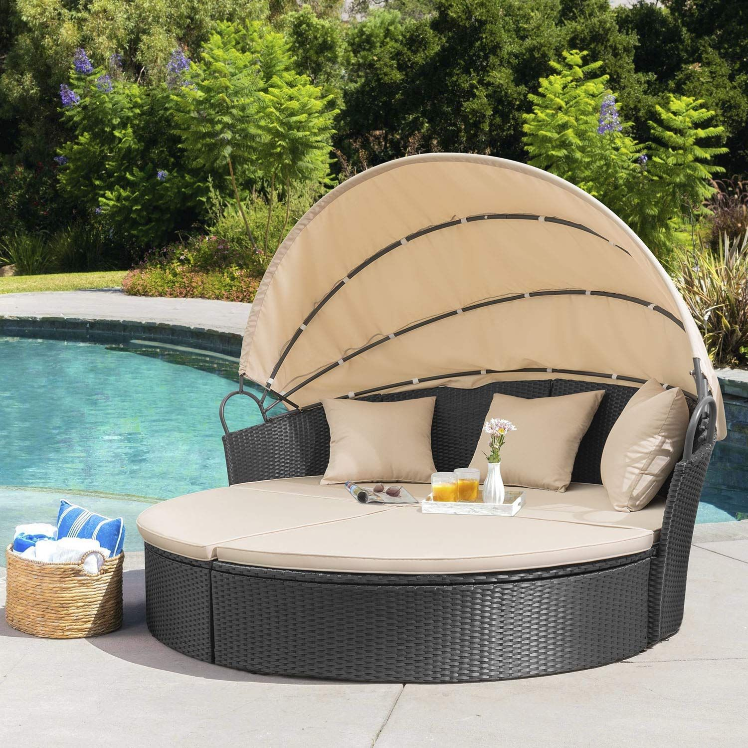 Outdoor Patio Round Daybed With Retractable Chiefsformen Com In 2020 Outdoor Daybed Patio Sofa Set Backyard Seating