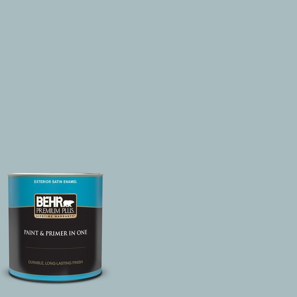 Behr Premium Plus 1 Qt Mq6 04 Gray Wool Satin Enamel Exterior Paint And Primer In One In 2020 Behr Premium Plus Exterior Paint Exterior