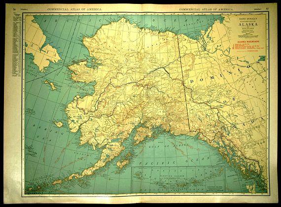 Alaska Map EXTRA LARGE Alaska Railroad Wall Art   Map Wall Decor ...