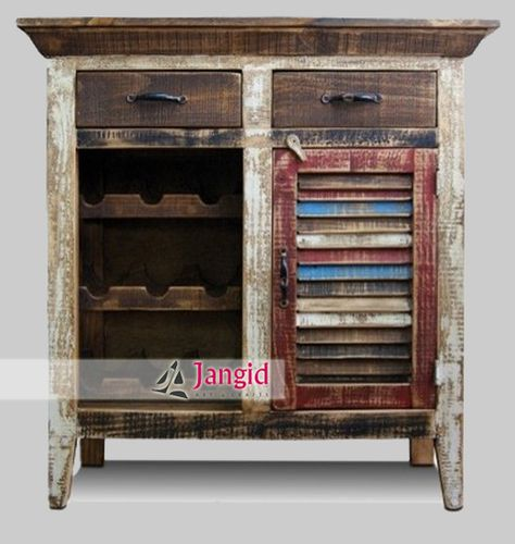 Wonderful Recycled Indian Wooden Wine Bar Cabinet / Reclaimed Indian Wooden Wine Bar  Counter #indianart #