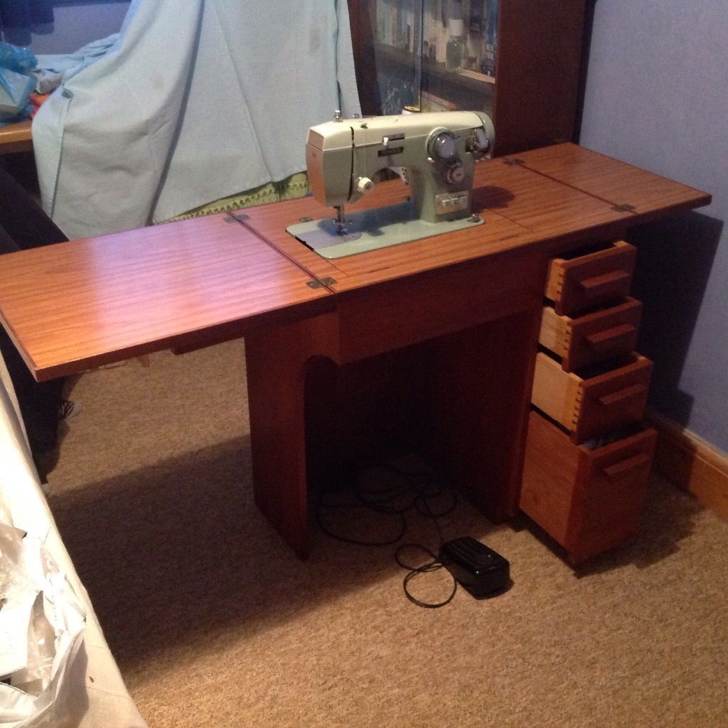 Sewing Machine Table Complete With Pinnock Ebay
