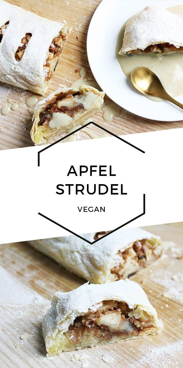 Veganer Apfelstrudel mit Blätterteig und Vanillesauce | Cheap And Cheerful Cooking