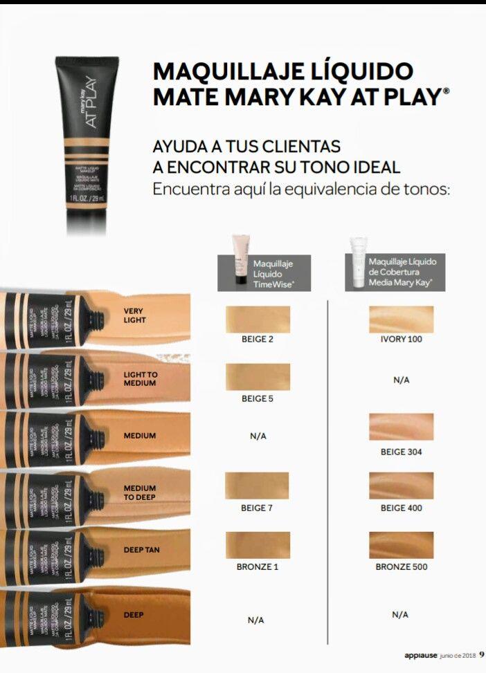 Equivalencia De Tonos Maquillajes Liquidos At Play Maquillaje