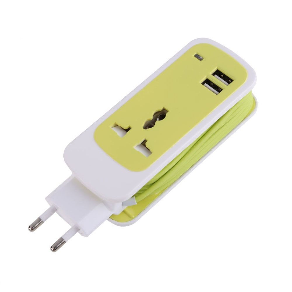3 In 1 Outlet Socket Triplex Receptacle 2 Usb Ports With 1 5m Hidden Cable Usb Cable Charger Cables